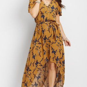 Maurices | Mustard Yellow Floral High Low Dress